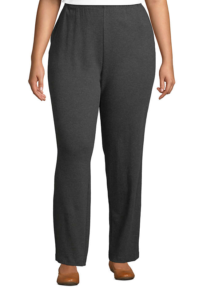 Women's Plus Size Sport Knit High Rise Elastic Waist Pull On Pants, Front