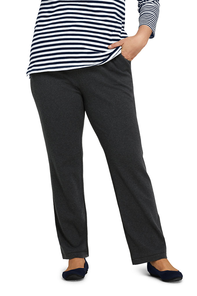 Women's Plus Size Sport Knit High Rise Elastic Waist Pull On Pants