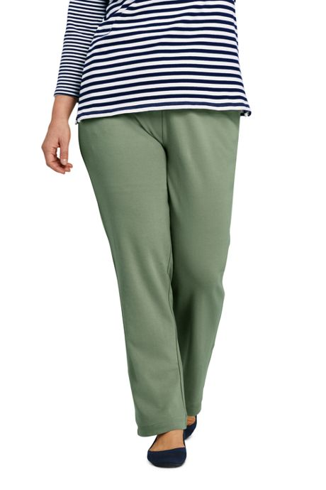 Women's Plus Size Petite Sport Knit  Elastic Waist Pants High Rise
