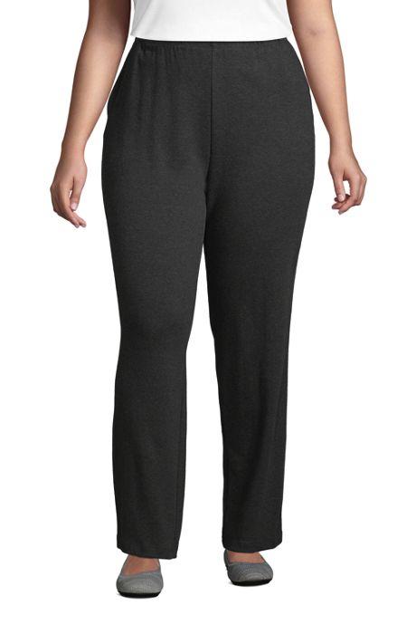 Women's Plus Size Petite Sport Knit High Rise Elastic Waist Pull On Pants