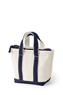Small Natural Zip Top Canvas Tote Bag, Back