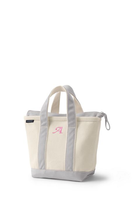 School Uniform Small Natural Zip Top Canvas Tote Bag
