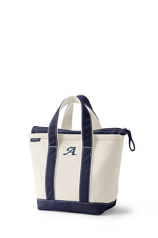 Small Natural Zip Top Canvas Tote Bag, Front