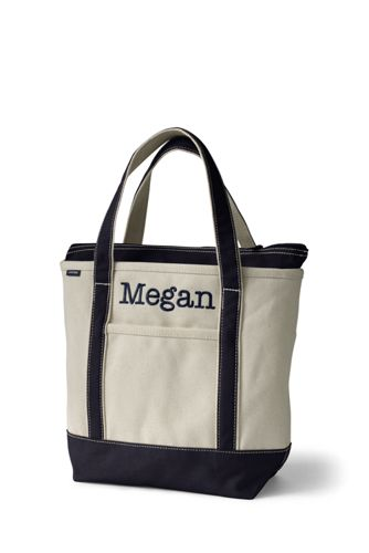 Medium Zip Top Canvas Tote Bag