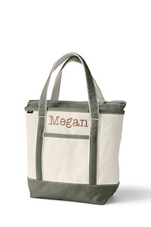 Medium Zip Top Canvas Tote Shopper
