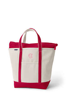 Large Natural Zip Top Canvas Tote Bag, Front