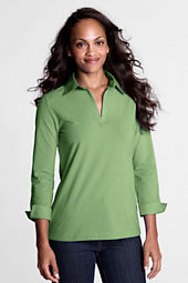 Women's 3/4-sleeve Stretch Woven Johnny Collar Shirt