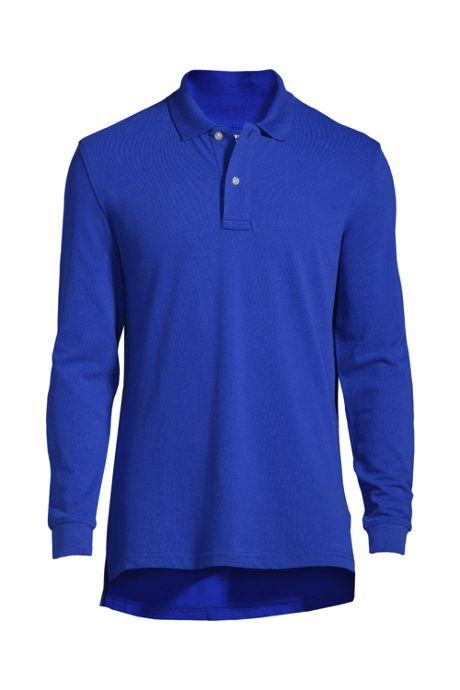 School Uniform Men's Long Sleeve Performance Mesh Polo