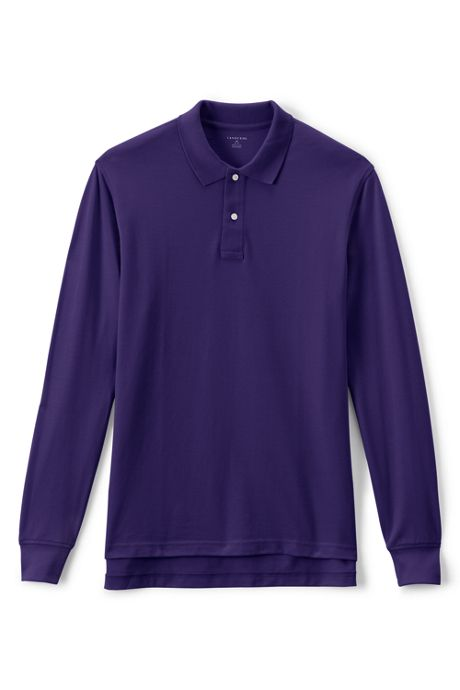 Men's Long Sleeve Mesh Polo Shirt