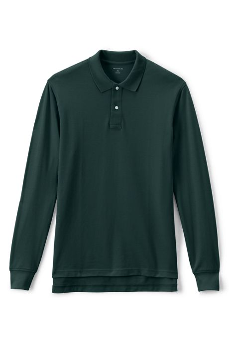 School Uniform Men's Long Sleeve Mesh Polo Shirt