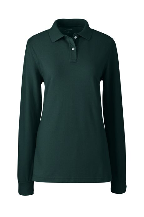 School Uniform Women's Long Sleeve Mesh Polo Shirt