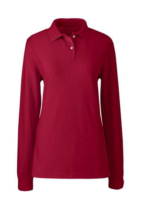 School Uniform Women's Tall Long Sleeve Mesh Polo Shirt