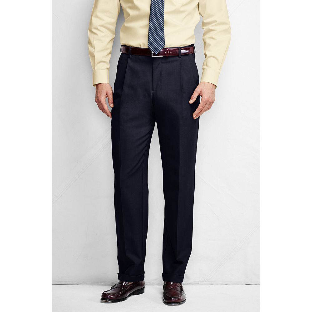 Lands' End Men's Big & Tall and Tall Pleat Front Comfort Waist Year'rounder Dress Pants at Sears.com