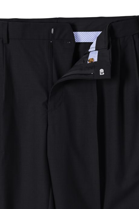 Men's Comfort Waist Pleated Year'rounder Wool Dress Pants