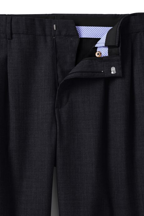 Men's Long Comfort Waist Pleated Year'rounder Wool Dress Pants