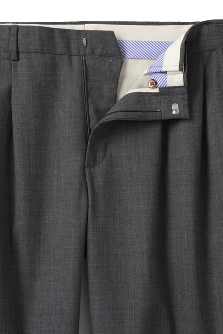 Men's Big & Tall Comfort Waist Pleat Wool Year'rounder Dress Trousers