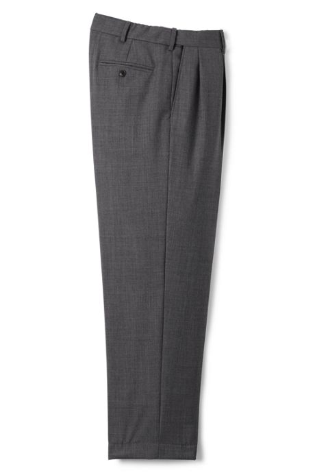 Men's Long Comfort Waist Pleat Wool Year'rounder Dress Trousers