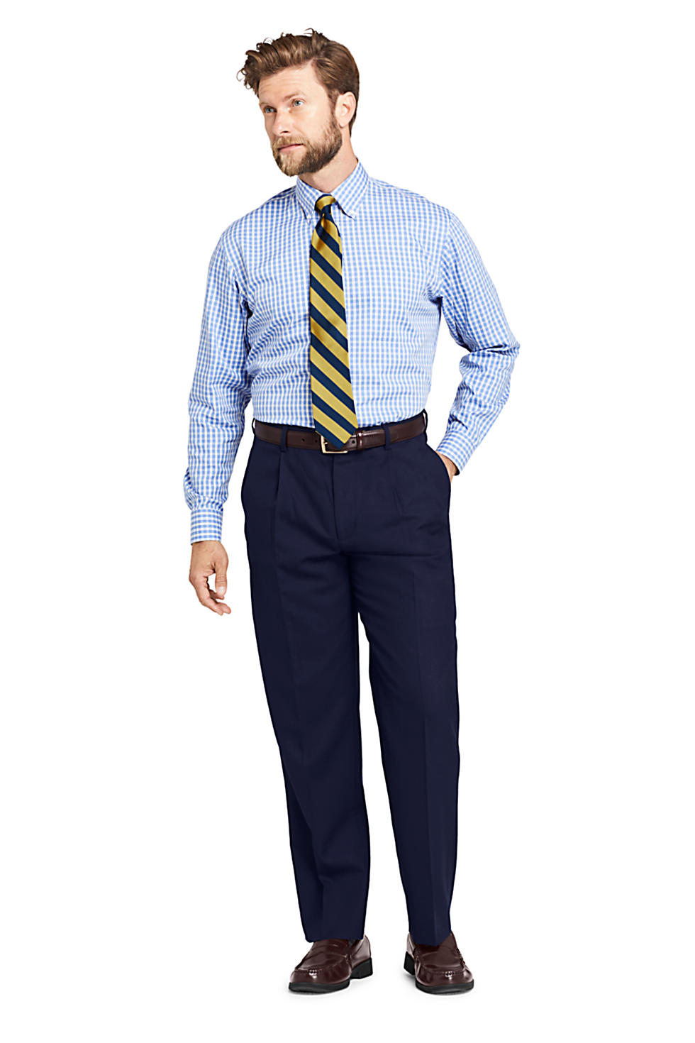 Lands' End Men's Year'rounder Comfort Waist Pleated Wool Dress Pants (various colors/sizes)