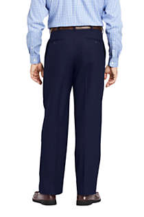 Men's Long Comfort Waist Pleated Year'rounder Wool Dress Pants, Back