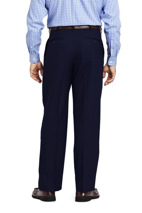 Men's Long Comfort Waist Pleated Year'rounder Wool Pants