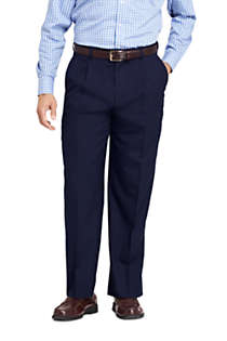 Men's Long Comfort Waist Pleated Year'rounder Wool Dress Pants, Front
