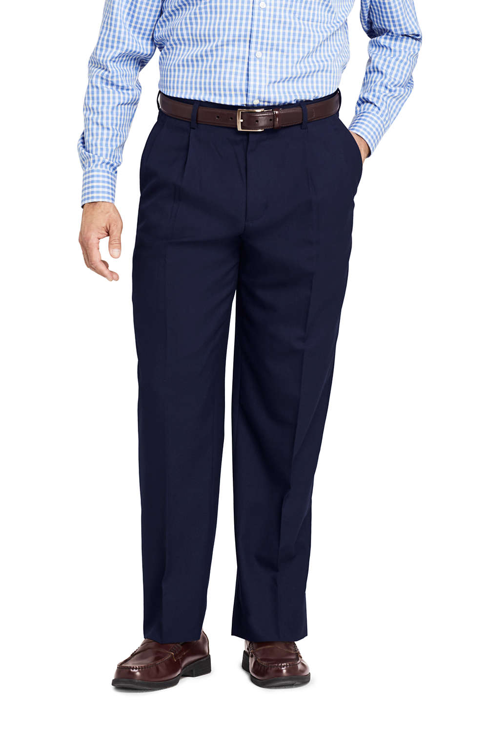 433bba57 Men's Comfort Waist Pleated Year'rounder Wool Dress Pants from Lands ...