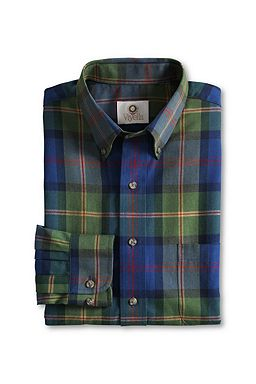 Cotton Wool Viyella Shirt: Vintage Olive Multi Check