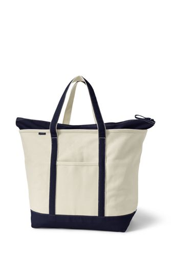 Extra Large Zip Top Canvas Tote Bag