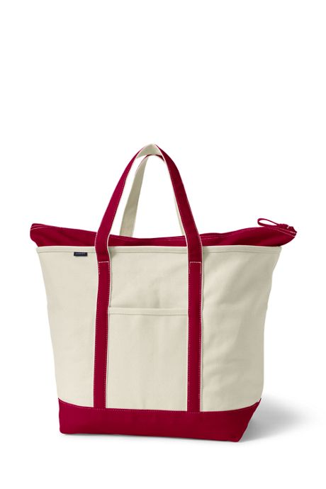 School Uniform Extra Large Natural Zip Top Canvas Tote Bag