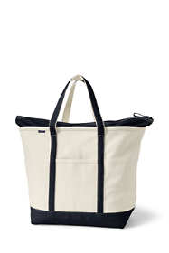 Extra Large Natural Zip Top Canvas Tote Bag