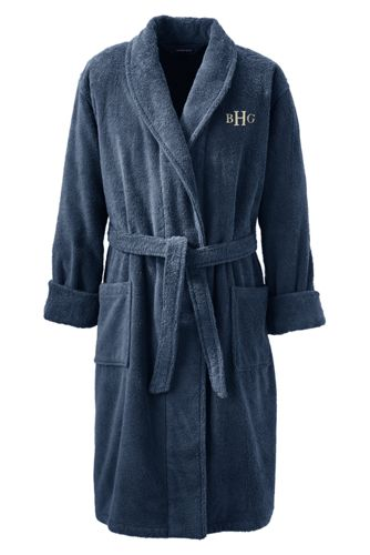 Outlet Professional Mens Turkish Terry Bath Robe - 34-36 - Grey Lands End Outlet Purchase Good Selling Pre Order For Sale Buy Cheap Sale vLkjDn