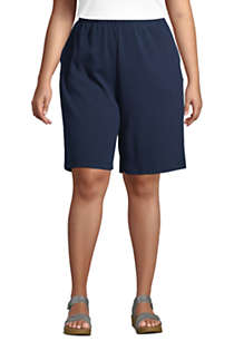 Women's Plus Size Sport Knit High Rise Elastic Waist Pull On Shorts, Front