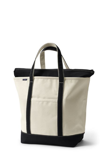 School Uniform Large Zip Top Canvas Tote