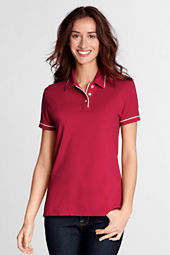 Women's Short Sleeve Tipped Collar and Cuff Mesh Polo Shirt