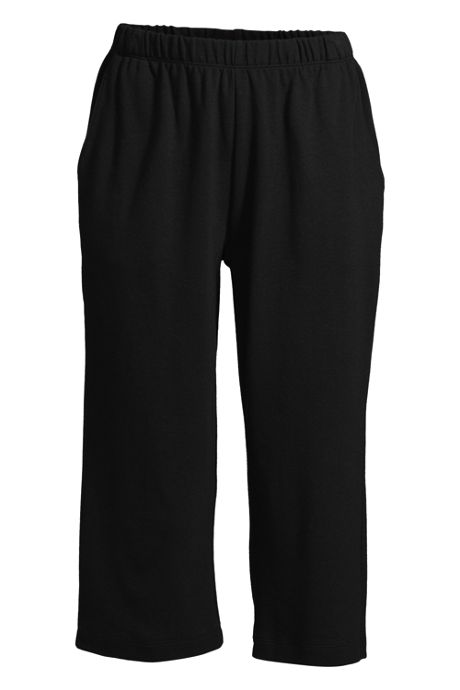 Women's Plus Size Petite Sport Knit High Rise Elastic Waist Pull On Capri Pants