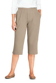 Women's Petite Sport Knit Elastic Waist Pull On Capri Pants