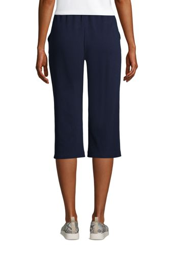 Women's Tall Sport Knit High Rise Elastic Waist Pull On Capri Pants