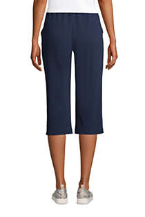 Women's Petite Sport Knit High Rise Elastic Waist Pull On Capri Pants, Back