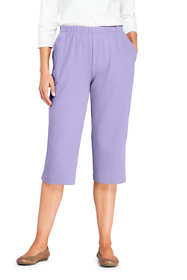Women's Tall Sport Knit High Rise Elastic Waist Pull On Capri Pants
