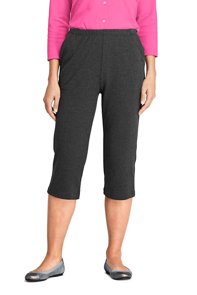 Women's Petite Sport Knit High Rise Elastic Waist Pull On Capri Pants, Front