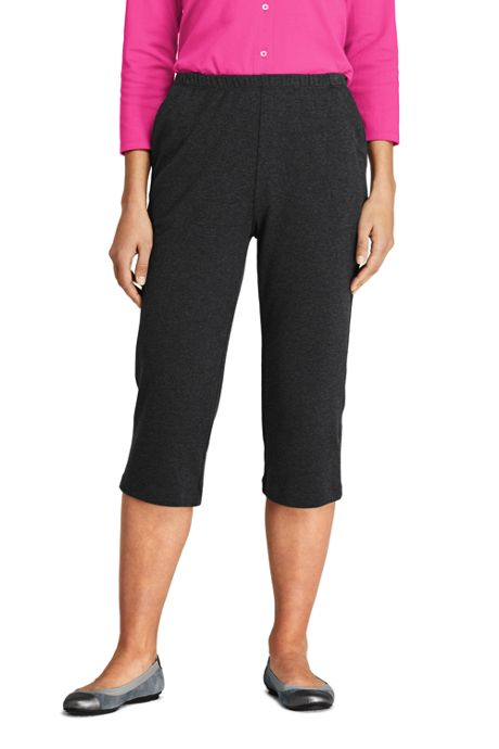 Women's Petite Sport Knit High Rise Elastic Waist Pull On Capri Pants