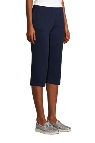 Women's Sport Knit High Rise Elastic Waist Pull On Capri Pants