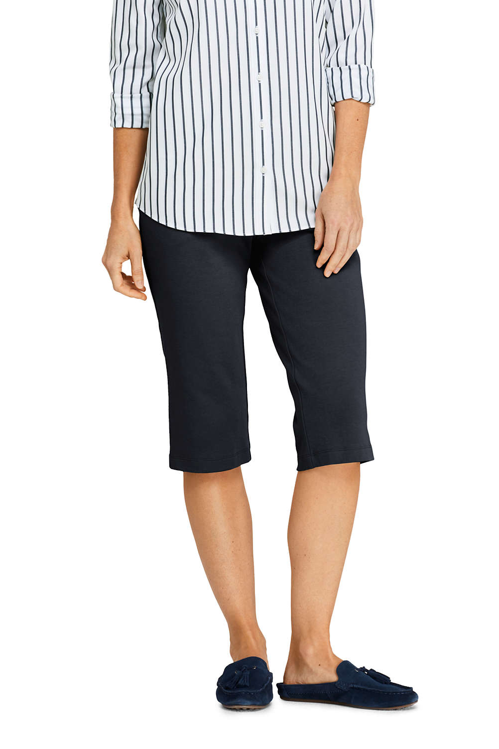 4de31d2c331cf Women's Sport Knit Elastic Waist Pull On Capri Pants from Lands' End