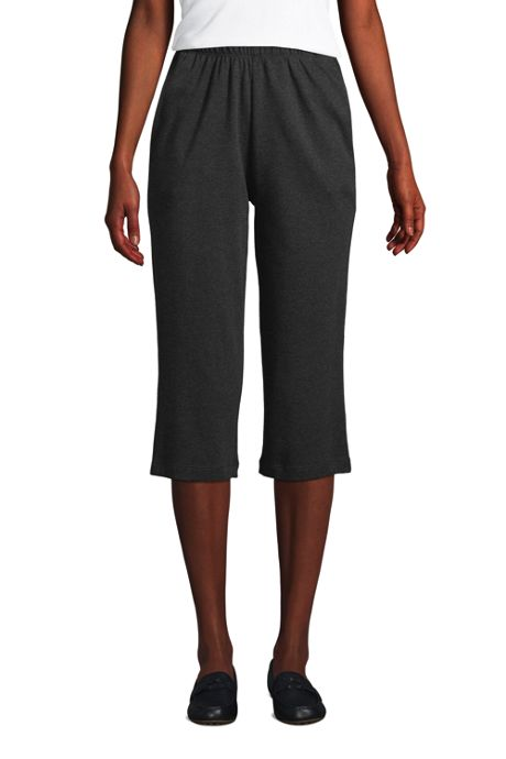 Women's Sport Knit High Rise Elastic Waist Pull On Capri Pants
