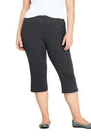 Women's Plus Size Sport Knit High Rise Elastic Waist Pull On Capri Pants