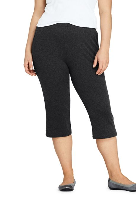 Women's Plus Size Sport Knit Elastic Waist Pull On Capri Pants