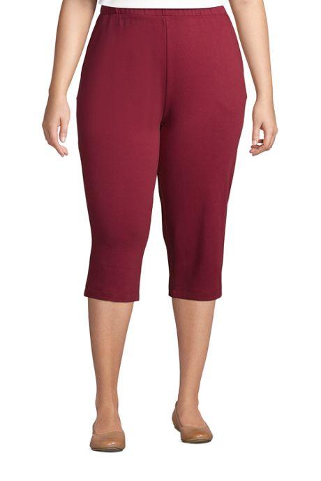 Women's Plus Size Sport Knit High Rise Elastic Waist Pull On Capri Pants
