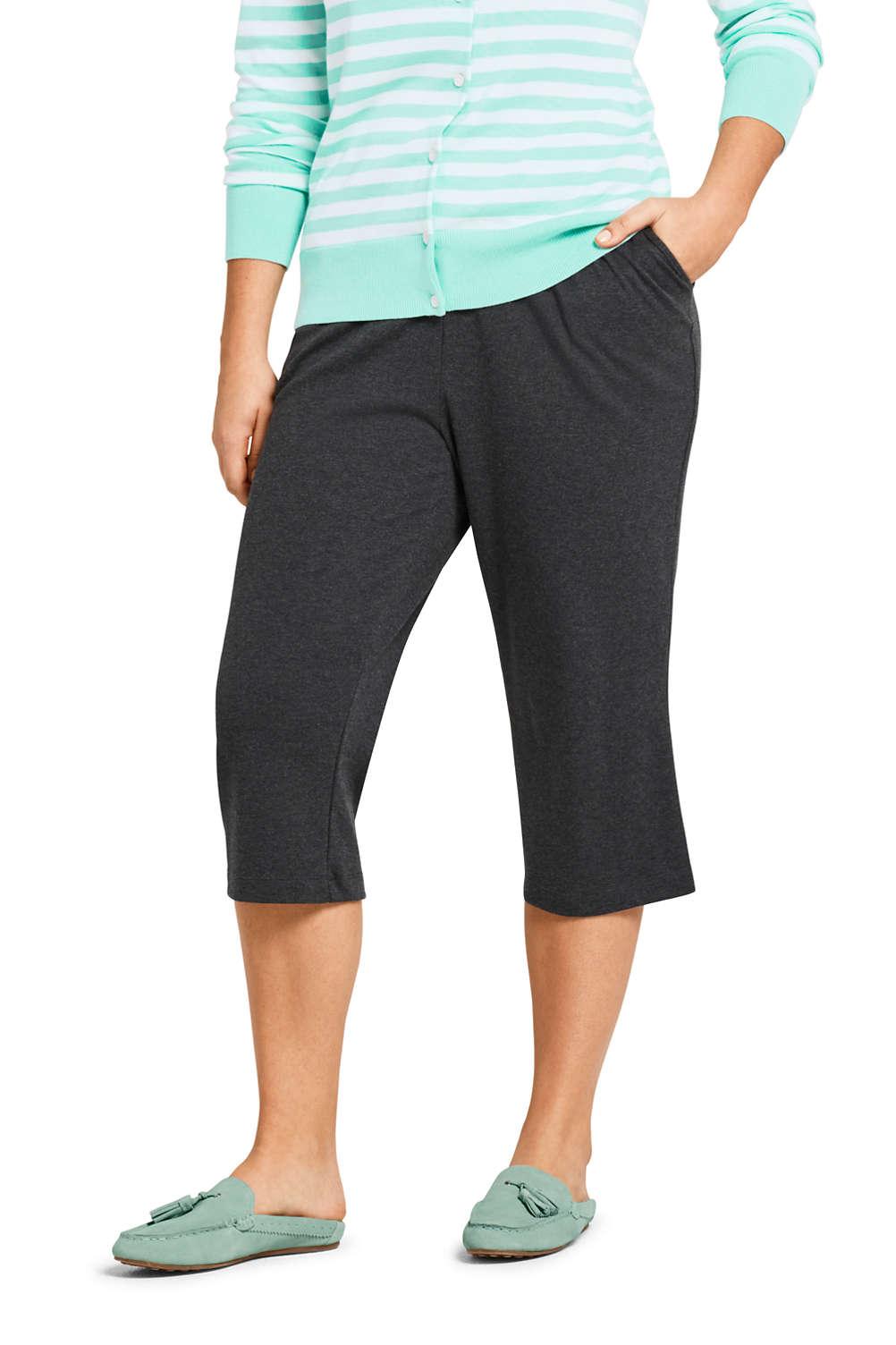 a384baa30042b Women's Plus Size Sport Knit Elastic Waist Pull On Capri Pants from Lands'  End