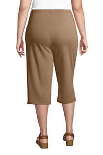 Lands End Womens Petite Sport Knit Elastic Waist Pull On Capri Pants