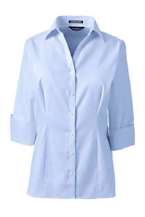 Women's Plus Size 3/4 Sleeve Splitneck No Iron Pinpoint Shirt, Front